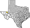 Map showing Loving County location within the state of Texas